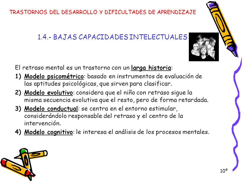 10º 1.4.- BAJAS CAPACIDADES INTELECTUALES El retraso mental es un trastorno con un larga historia: 1)Modelo psicométrico: basado en instrumentos de ev