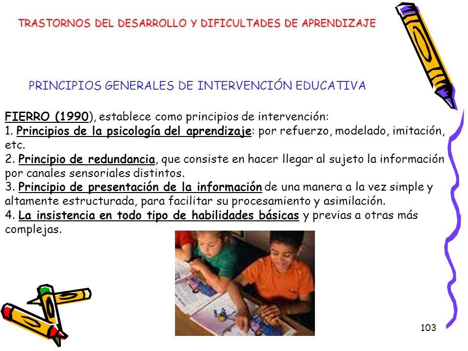 103 FIERRO (1990), establece como principios de intervención: 1. Principios de la psicología del aprendizaje: por refuerzo, modelado, imitación, etc.