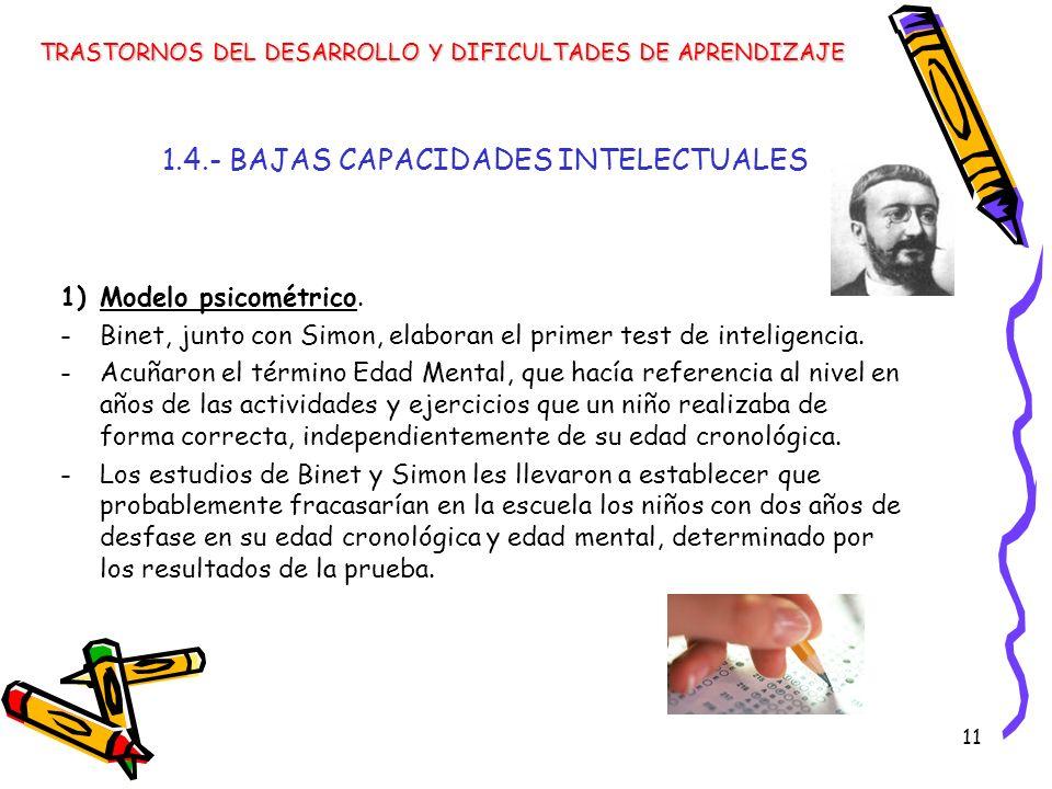11 1.4.- BAJAS CAPACIDADES INTELECTUALES 1)Modelo psicométrico. -Binet, junto con Simon, elaboran el primer test de inteligencia. -Acuñaron el término