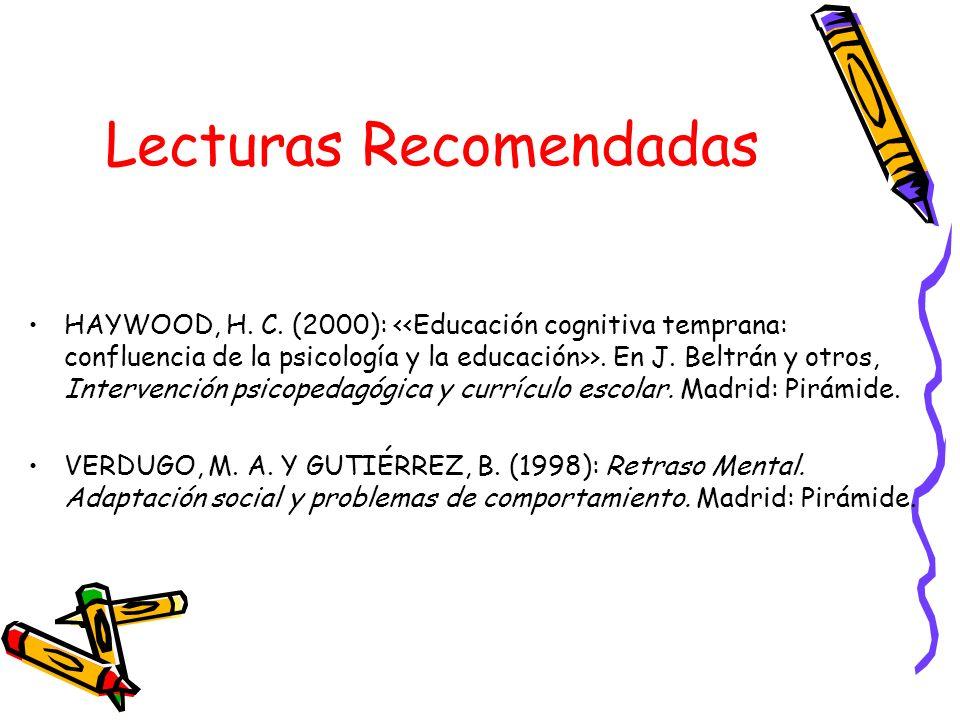 Lecturas Recomendadas HAYWOOD, H. C. (2000): >. En J. Beltrán y otros, Intervención psicopedagógica y currículo escolar. Madrid: Pirámide. VERDUGO, M.