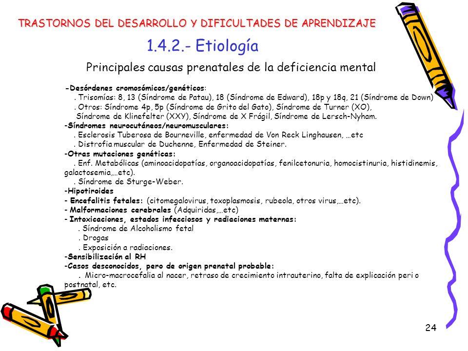 24 1.4.2.- Etiología TRASTORNOS DEL DESARROLLO Y DIFICULTADES DE APRENDIZAJE Principales causas prenatales de la deficiencia mental -Desórdenes cromos
