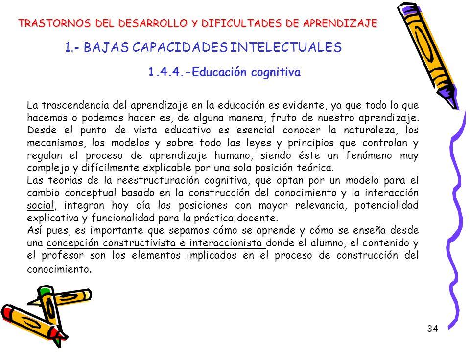 34 1.- BAJAS CAPACIDADES INTELECTUALES TRASTORNOS DEL DESARROLLO Y DIFICULTADES DE APRENDIZAJE La trascendencia del aprendizaje en la educación es evi