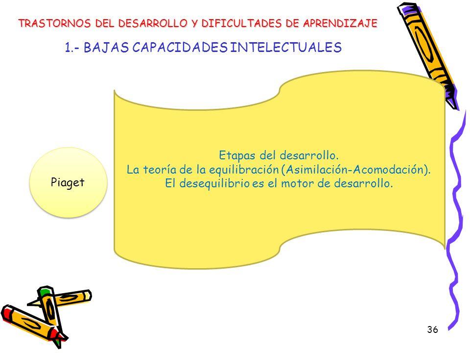 36 1.- BAJAS CAPACIDADES INTELECTUALES TRASTORNOS DEL DESARROLLO Y DIFICULTADES DE APRENDIZAJE Piaget Etapas del desarrollo. La teoría de la equilibra