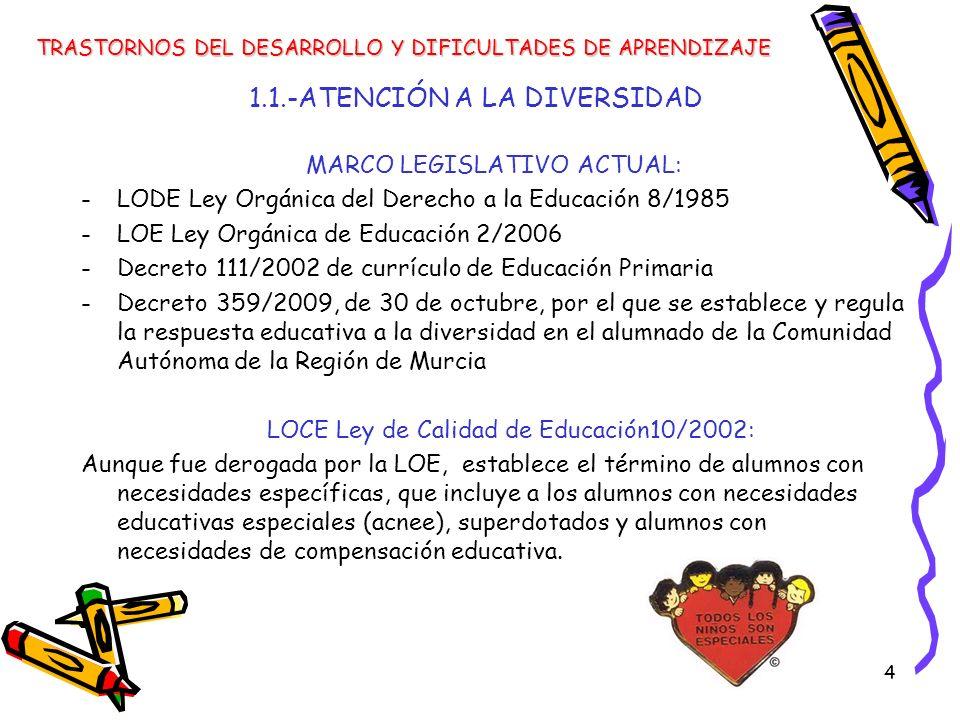 5 MARCO LEGISLATIVO ACTUAL: -Decreto 359/2009, de 30 de octubre, por el que se establece y regula la respuesta educativa a la diversidad en el alumnado de la Comunidad Autónoma de la Región de Murcia 1.1.-ATENCIÓN A LA DIVERSIDAD TRASTORNOS DEL DESARROLLO Y DIFICULTADES DE APRENDIZAJE