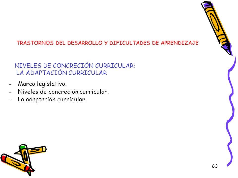 63 -Marco legislativo. -Niveles de concreción curricular. -La adaptación curricular. TRASTORNOS DEL DESARROLLO Y DIFICULTADES DE APRENDIZAJE NIVELES D