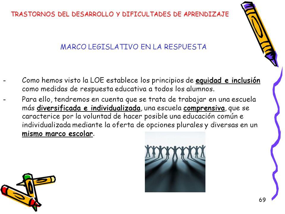 69 MARCO LEGISLATIVO EN LA RESPUESTA -Como hemos visto la LOE establece los principios de equidad e inclusión como medidas de respuesta educativa a to