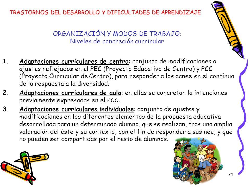 71 ORGANIZACIÓN Y MODOS DE TRABAJO: Niveles de concreción curricular 1.Adaptaciones curriculares de centro: conjunto de modificaciones o ajustes refle