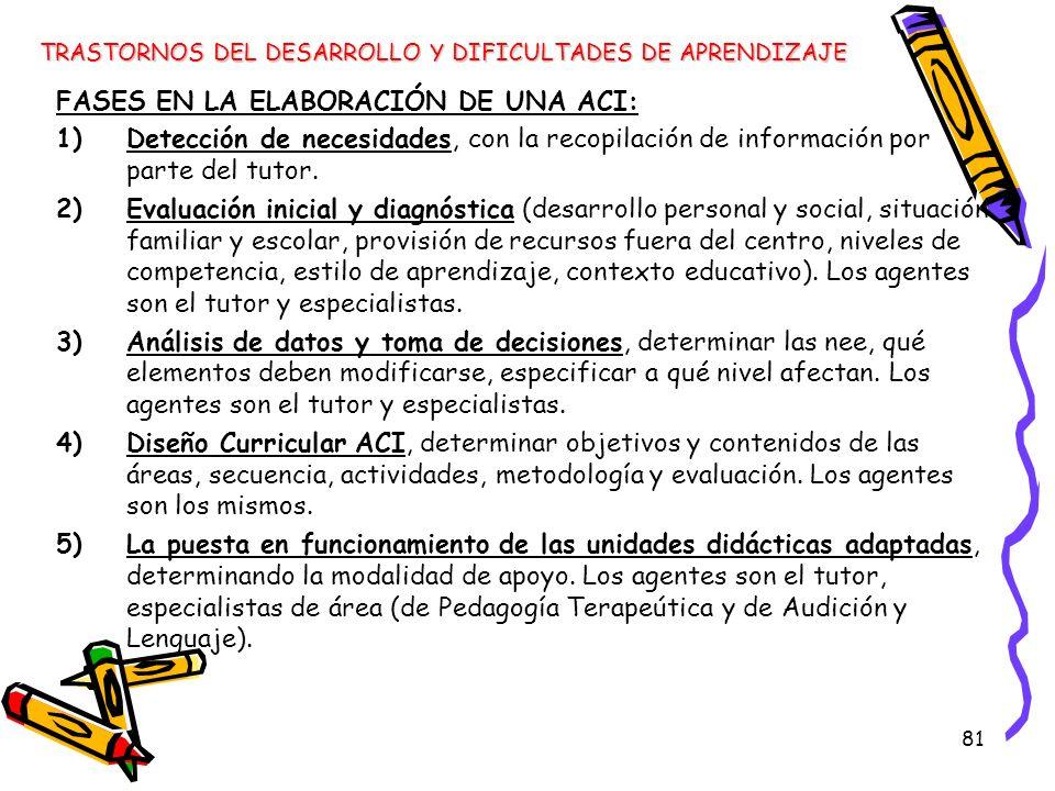 81 FASES EN LA ELABORACIÓN DE UNA ACI: 1)Detección de necesidades, con la recopilación de información por parte del tutor. 2)Evaluación inicial y diag