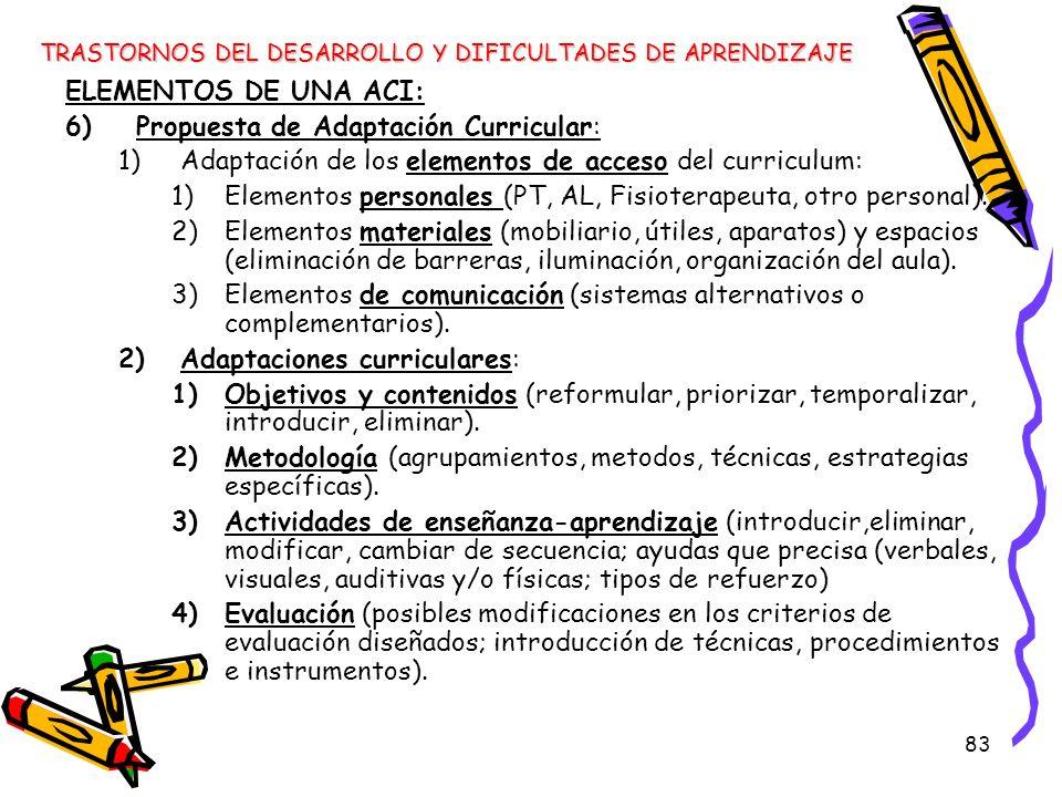 83 ELEMENTOS DE UNA ACI: 6)Propuesta de Adaptación Curricular: 1)Adaptación de los elementos de acceso del curriculum: 1)Elementos personales (PT, AL,