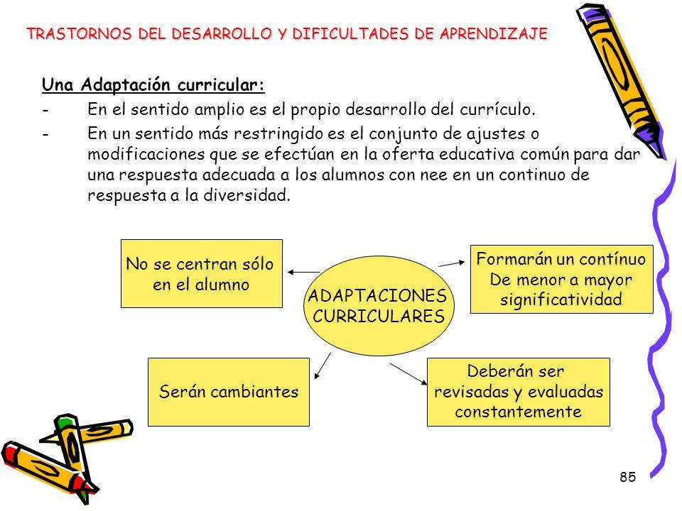 85 Una Adaptación curricular: -En el sentido amplio es el propio desarrollo del currículo. -En un sentido más restringido es el conjunto de ajustes o