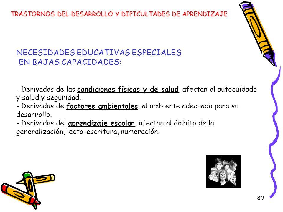 89 NECESIDADES EDUCATIVAS ESPECIALES EN BAJAS CAPACIDADES: - Derivadas de las condiciones físicas y de salud, afectan al autocuidado y salud y segurid