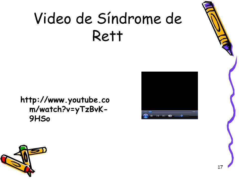 17 Video de Síndrome de Rett http://www.youtube.co m/watch?v=yTzBvK- 9HSo