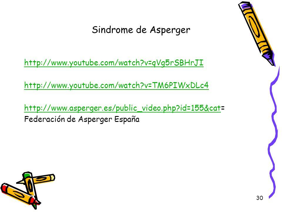 30 Sindrome de Asperger http://www.youtube.com/watch?v=qVg5rSBHrJI http://www.youtube.com/watch?v=TM6PIWxDLc4 http://www.asperger.es/public_video.php?