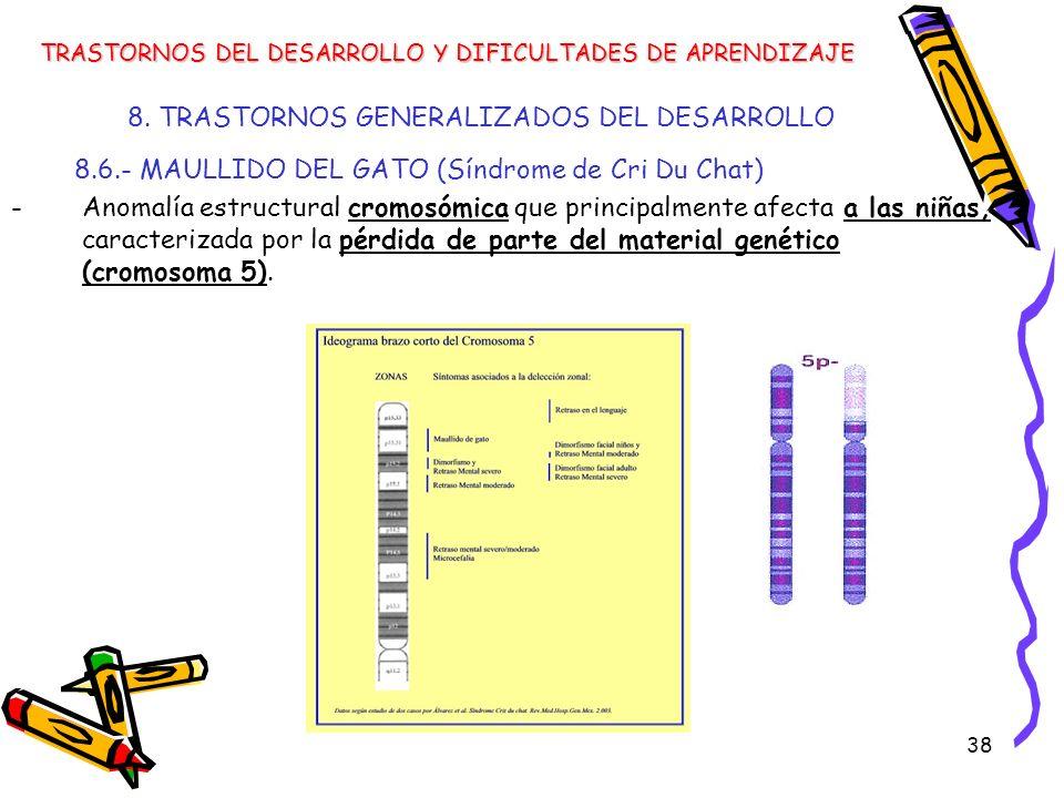 38 8. TRASTORNOS GENERALIZADOS DEL DESARROLLO 8.6.- MAULLIDO DEL GATO (Síndrome de Cri Du Chat) -Anomalía estructural cromosómica que principalmente a