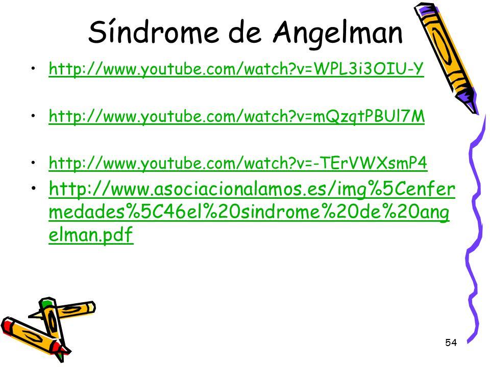 54 Síndrome de Angelman http://www.youtube.com/watch?v=WPL3i3OIU-Y http://www.youtube.com/watch?v=mQzqtPBUl7M http://www.youtube.com/watch?v=-TErVWXsm