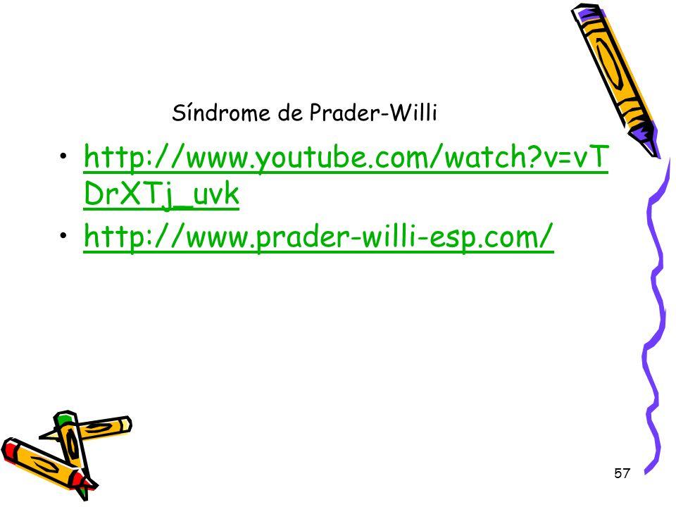 57 Síndrome de Prader-Willi http://www.youtube.com/watch?v=vT DrXTj_uvkhttp://www.youtube.com/watch?v=vT DrXTj_uvk http://www.prader-willi-esp.com/