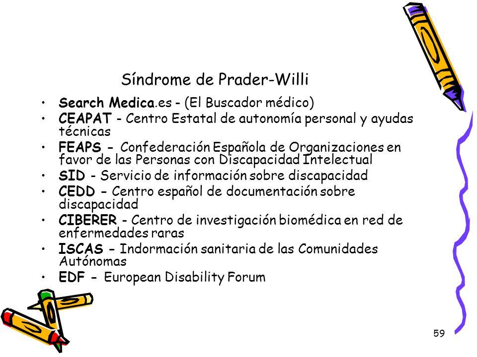 59 Síndrome de Prader-Willi Search Medica.es - (El Buscador médico) CEAPAT - Centro Estatal de autonomía personal y ayudas técnicas FEAPS - Confederac