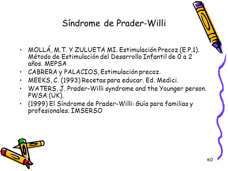 60 Síndrome de Prader-Willi MOLLÁ, M.T. Y ZULUETA MI. Estimulación Precoz (E.P.1). Método de Estimulación del Desarrollo Infantil de 0 a 2 años. MEPSA
