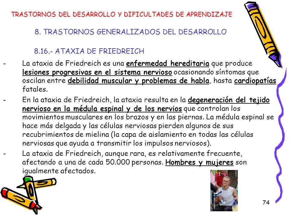 74 8. TRASTORNOS GENERALIZADOS DEL DESARROLLO 8.16.- ATAXIA DE FRIEDREICH -La ataxia de Friedreich es una enfermedad hereditaria que produce lesiones