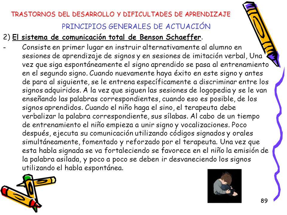 89 PRINCIPIOS GENERALES DE ACTUACIÓN 2) El sistema de comunicación total de Benson Schaeffer. -Consiste en primer lugar en instruir alternativamente a