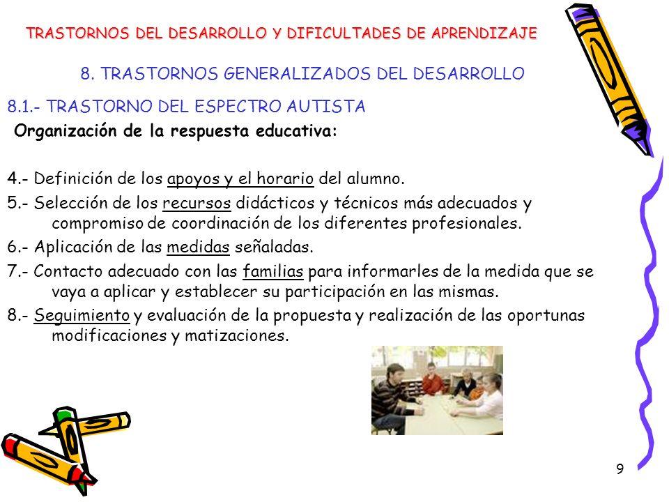 9 8. TRASTORNOS GENERALIZADOS DEL DESARROLLO 8.1.- TRASTORNO DEL ESPECTRO AUTISTA Organización de la respuesta educativa: 4.- Definición de los apoyos