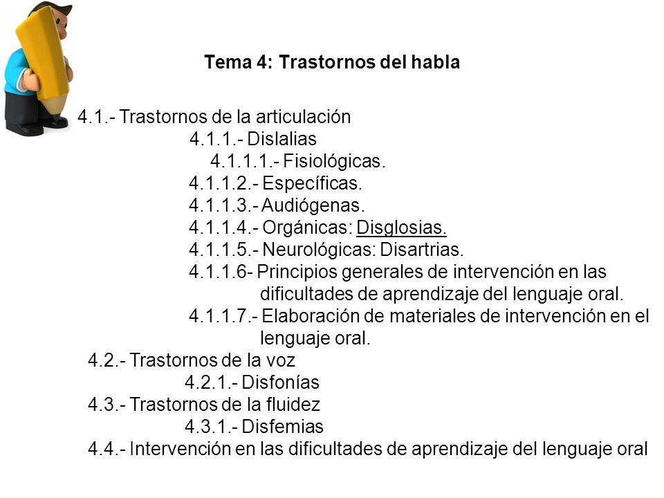 Tema 4: Trastornos del habla 4.1.- Trastornos de la articulación 4.1.1.- Dislalias 4.1.1.1.- Fisiológicas.