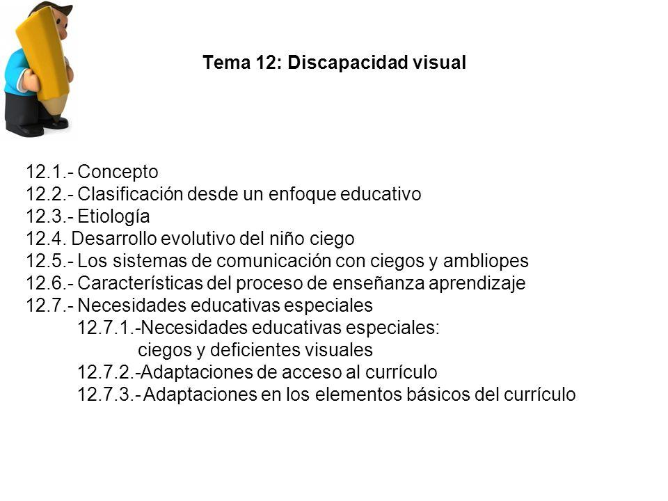 Tema 12: Discapacidad visual 12.1.- Concepto 12.2.- Clasificación desde un enfoque educativo 12.3.- Etiología 12.4.