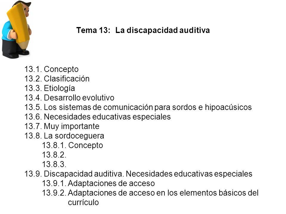 Tema 13: La discapacidad auditiva 13.1.Concepto 13.2.