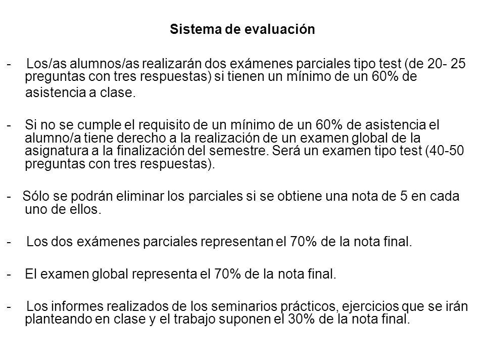 Sistema de evaluación - Los/as alumnos/as realizarán dos exámenes parciales tipo test (de 20- 25 preguntas con tres respuestas) si tienen un mínimo de un 60% de asistencia a clase.