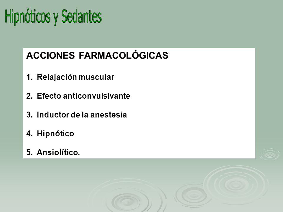 BROMUROS: NaBr AMIDAS E IMIDAS: Glutetimida ALDEHIDOS: Cloral hidratado GLICOLES Y DERIVADOS:Meprobamato, carisoprodol (discont) CLASIFICACION ESTRUCTURAL