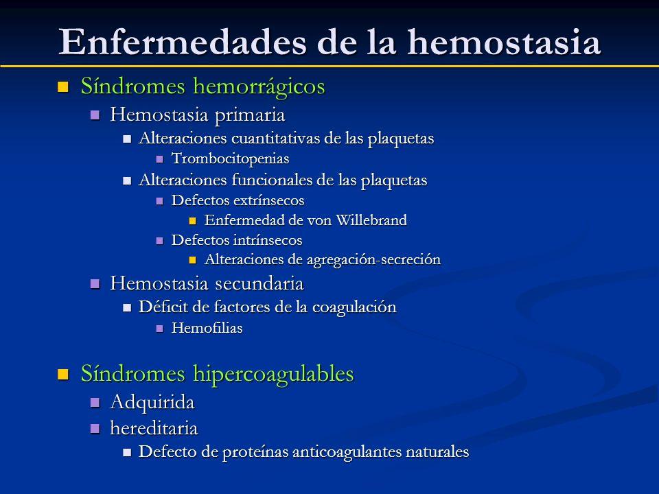 Enfermedades de la hemostasia Síndromes hemorrágicos Síndromes hemorrágicos Hemostasia primaria Hemostasia primaria Alteraciones cuantitativas de las