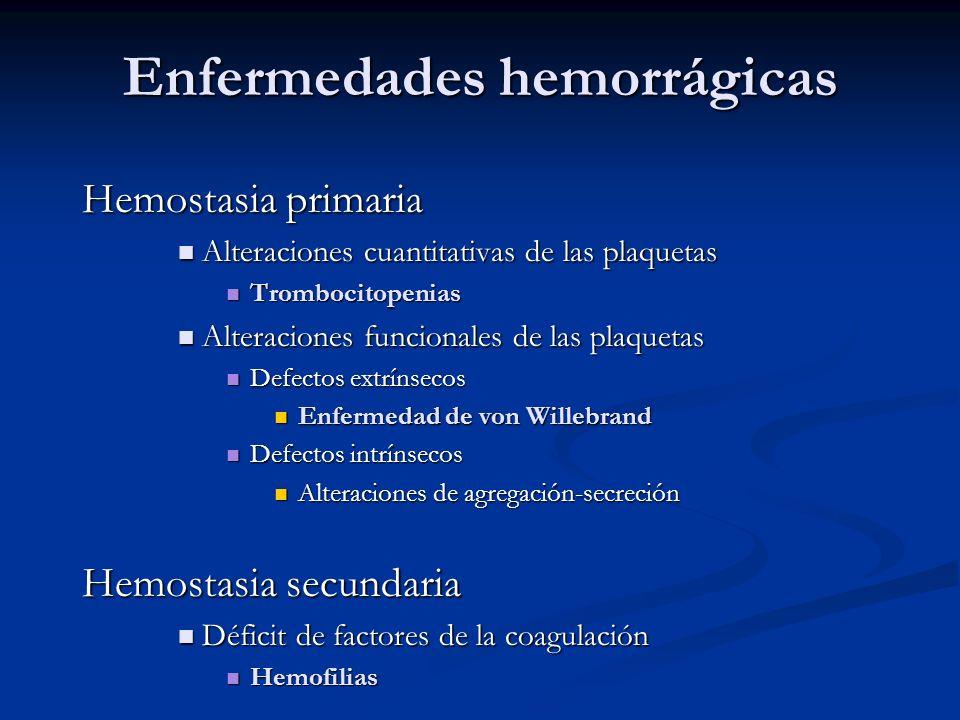 Enfermedades hemorrágicas Hemostasia primaria Alteraciones cuantitativas de las plaquetas Alteraciones cuantitativas de las plaquetas Trombocitopenias