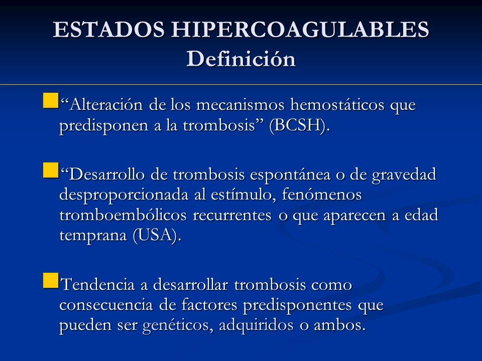 ESTADOS HIPERCOAGULABLES Definición Alteración de los mecanismos hemostáticos que predisponen a la trombosis (BCSH). Alteración de los mecanismos hemo