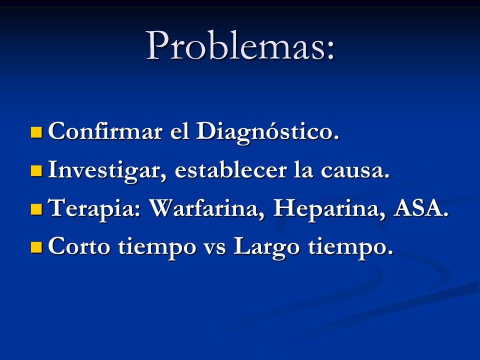 Problemas: Confirmar el Diagnóstico. Confirmar el Diagnóstico. Investigar, establecer la causa. Investigar, establecer la causa. Terapia: Warfarina, H