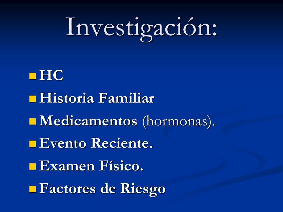 Investigación: HC HC Historia Familiar Historia Familiar Medicamentos (hormonas). Medicamentos (hormonas). Evento Reciente. Evento Reciente. Examen Fí