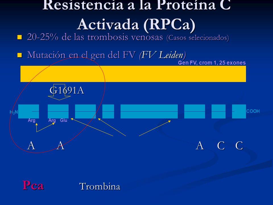 20-25% de las trombosis venosas (Casos selecionados) 20-25% de las trombosis venosas (Casos selecionados) Mutación en el gen del FV (FV Leiden) Mutaci