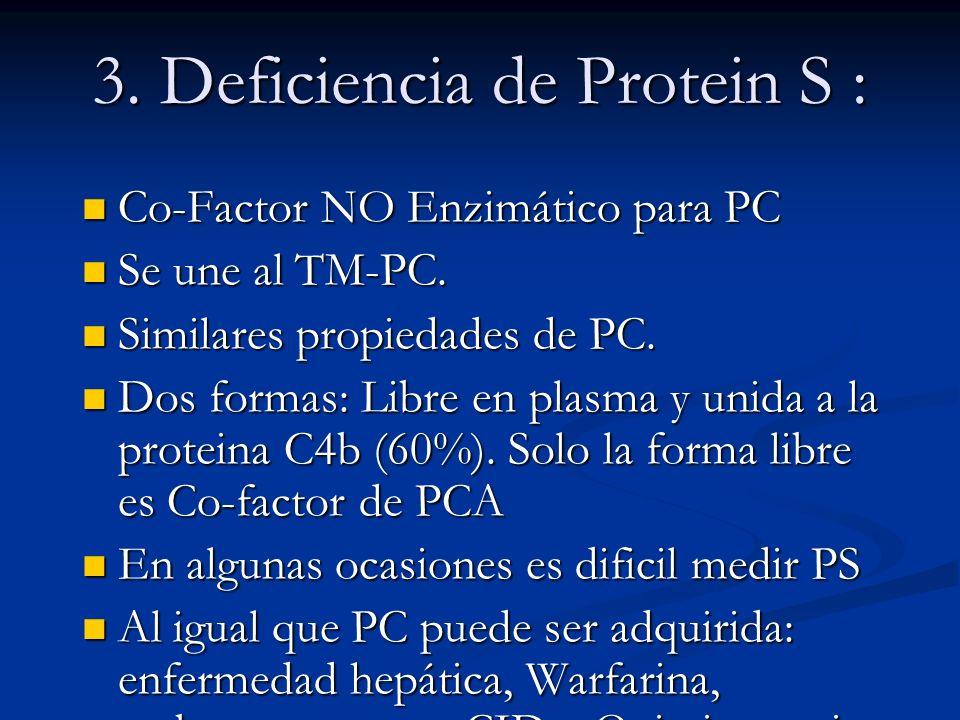 3. Deficiencia de Protein S : Co-Factor NO Enzimático para PC Co-Factor NO Enzimático para PC Se une al TM-PC. Se une al TM-PC. Similares propiedades