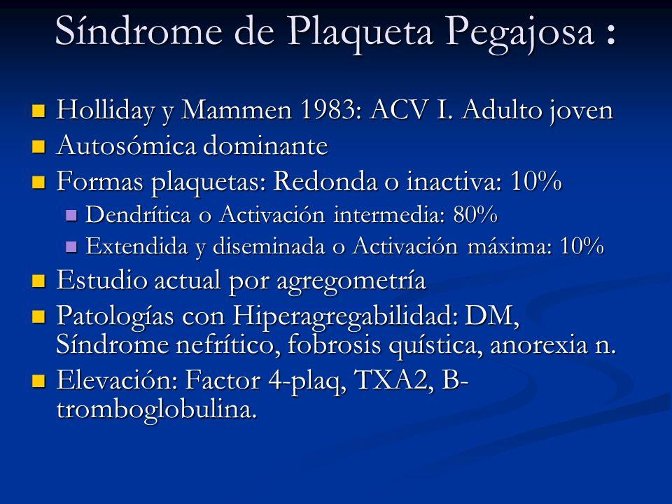 Síndrome de Plaqueta Pegajosa : Holliday y Mammen 1983: ACV I. Adulto joven Holliday y Mammen 1983: ACV I. Adulto joven Autosómica dominante Autosómic