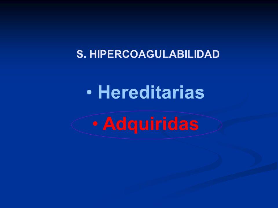 S. HIPERCOAGULABILIDAD Hereditarias Adquiridas