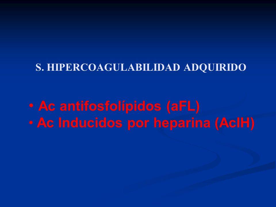 S. HIPERCOAGULABILIDAD ADQUIRIDO Ac antifosfolípidos (aFL) Ac Inducidos por heparina (AcIH)