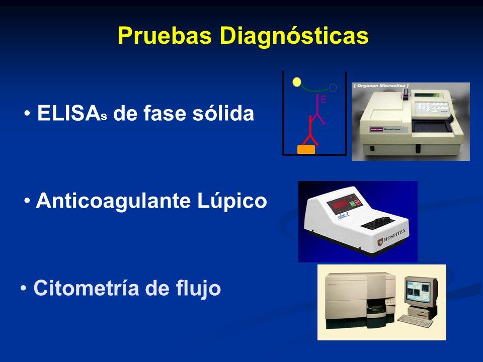 Pruebas Diagnósticas Citometría de flujo ELISA s de fase sólida Anticoagulante Lúpico E