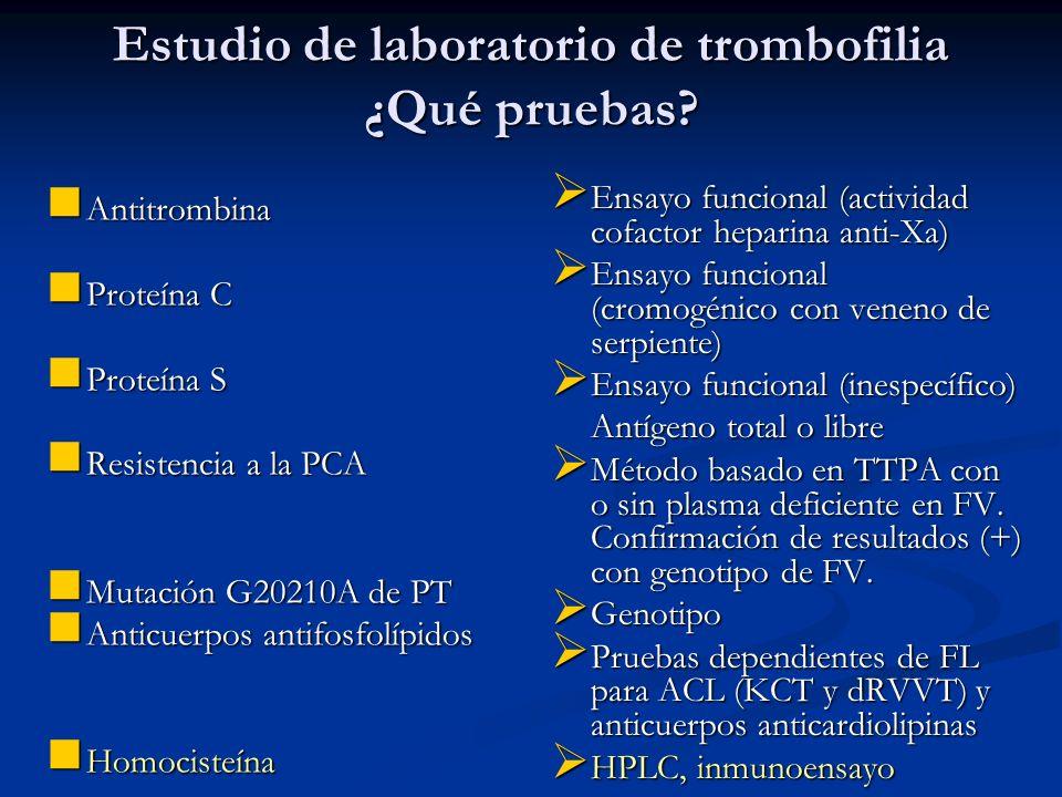 Estudio de laboratorio de trombofilia ¿Qué pruebas? Antitrombina Antitrombina Proteína C Proteína C Proteína S Proteína S Resistencia a la PCA Resiste