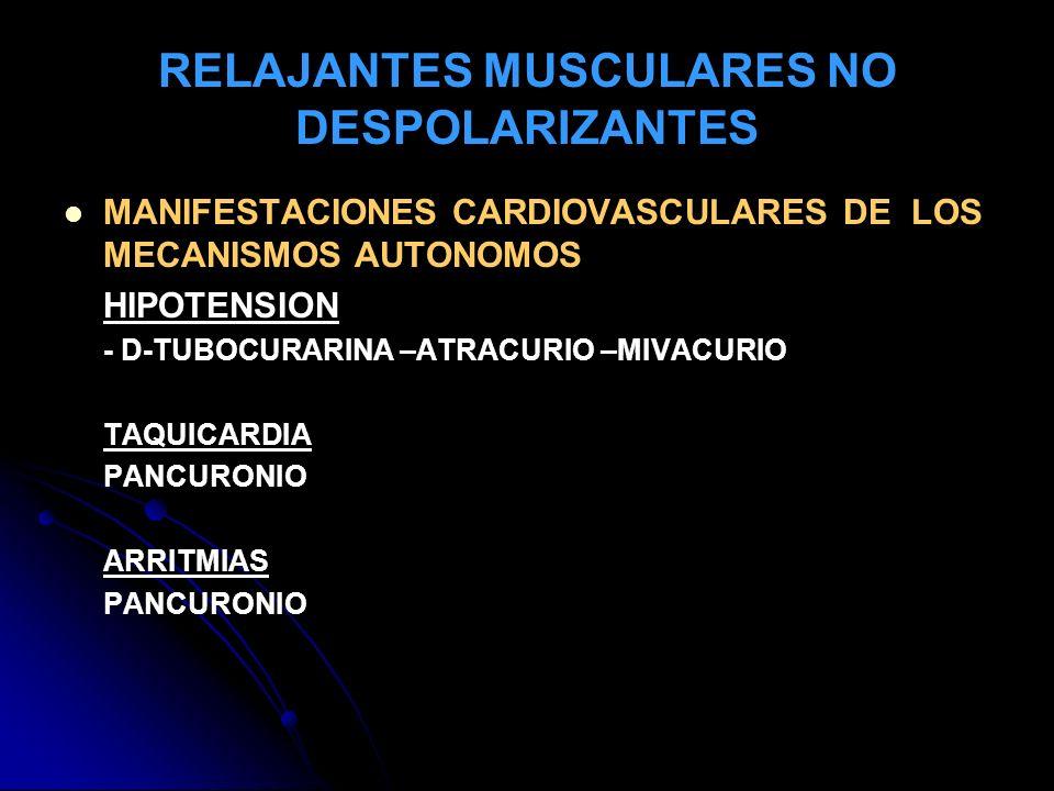 RELAJANTES MUSCULARES NO DESPOLARIZANTES MANIFESTACIONES CARDIOVASCULARES DE LOS MECANISMOS AUTONOMOS HIPOTENSION - D-TUBOCURARINA –ATRACURIO –MIVACUR
