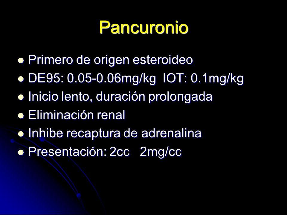 Pancuronio Primero de origen esteroideo Primero de origen esteroideo DE95: 0.05-0.06mg/kg IOT: 0.1mg/kg DE95: 0.05-0.06mg/kg IOT: 0.1mg/kg Inicio lent