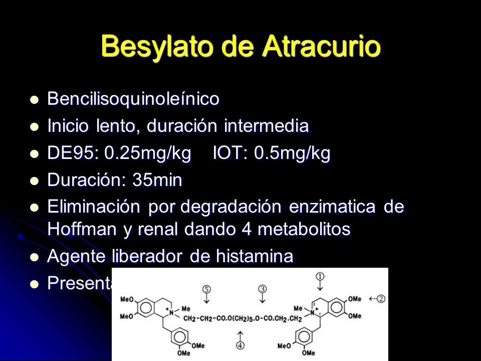 Besylato de Atracurio Bencilisoquinoleínico Bencilisoquinoleínico Inicio lento, duración intermedia Inicio lento, duración intermedia DE95: 0.25mg/kg