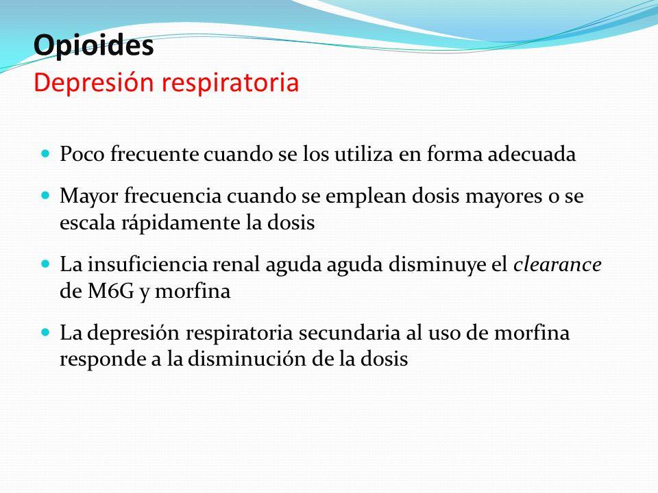 Opioides Depresión respiratoria Poco frecuente cuando se los utiliza en forma adecuada Mayor frecuencia cuando se emplean dosis mayores o se escala rá