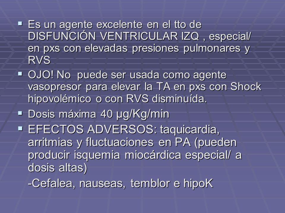 Es un agente excelente en el tto de DISFUNCIÓN VENTRICULAR IZQ, especial/ en pxs con elevadas presiones pulmonares y RVS Es un agente excelente en el tto de DISFUNCIÓN VENTRICULAR IZQ, especial/ en pxs con elevadas presiones pulmonares y RVS OJO.