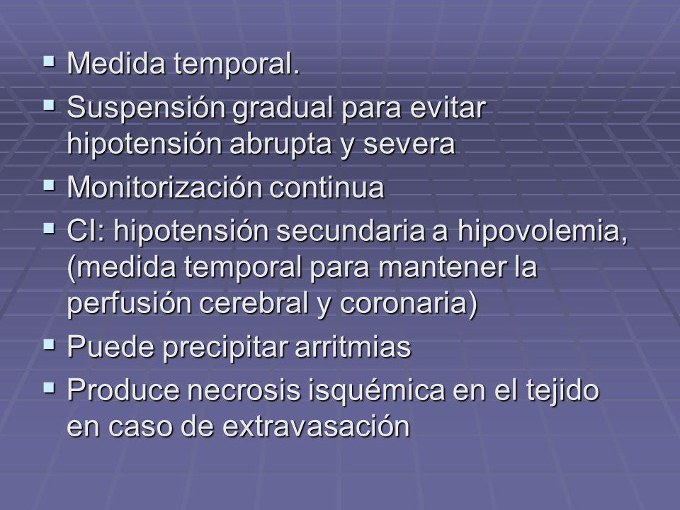 Medida temporal. Medida temporal. Suspensión gradual para evitar hipotensión abrupta y severa Suspensión gradual para evitar hipotensión abrupta y sev