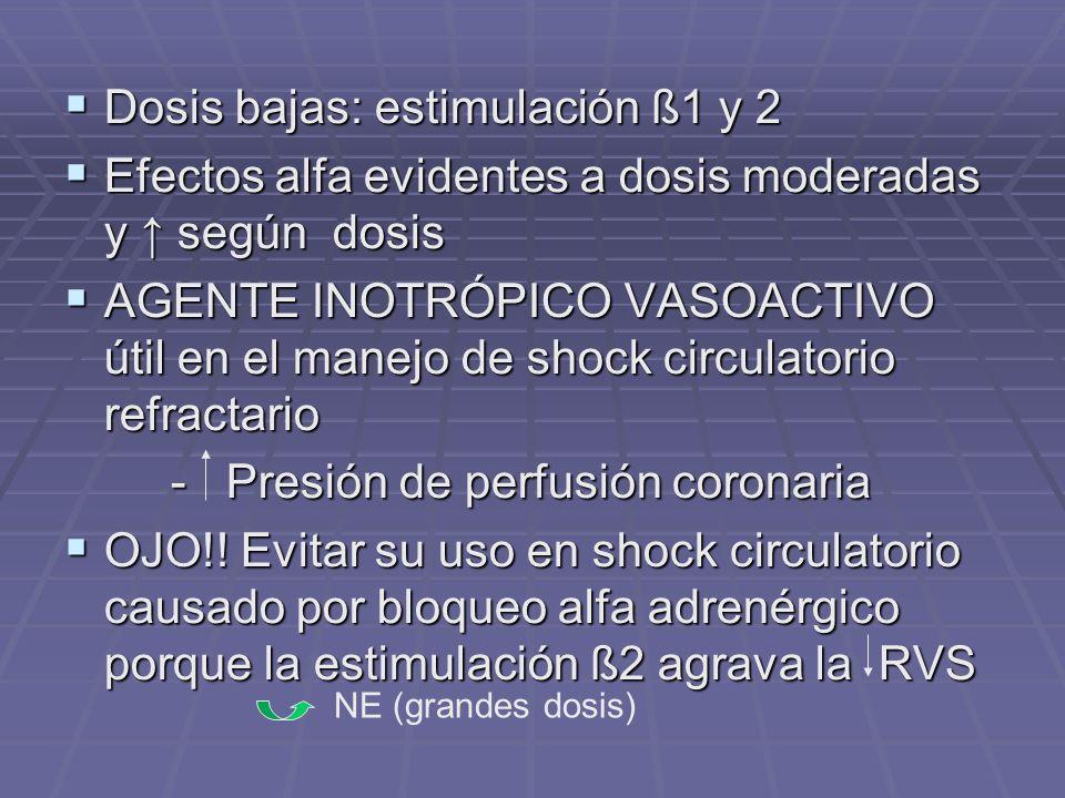 Dosis bajas: estimulación ß1 y 2 Dosis bajas: estimulación ß1 y 2 Efectos alfa evidentes a dosis moderadas y según dosis Efectos alfa evidentes a dosis moderadas y según dosis AGENTE INOTRÓPICO VASOACTIVO útil en el manejo de shock circulatorio refractario AGENTE INOTRÓPICO VASOACTIVO útil en el manejo de shock circulatorio refractario - Presión de perfusión coronaria OJO!.