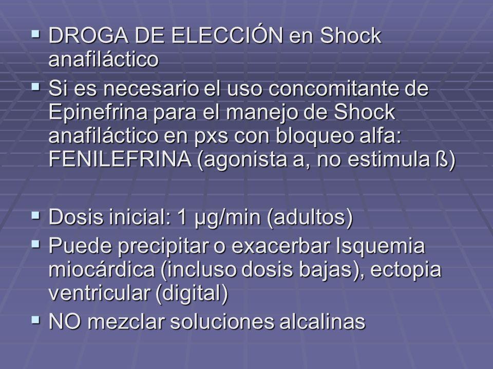 DROGA DE ELECCIÓN en Shock anafiláctico DROGA DE ELECCIÓN en Shock anafiláctico Si es necesario el uso concomitante de Epinefrina para el manejo de Shock anafiláctico en pxs con bloqueo alfa: FENILEFRINA (agonista a, no estimula ß) Si es necesario el uso concomitante de Epinefrina para el manejo de Shock anafiláctico en pxs con bloqueo alfa: FENILEFRINA (agonista a, no estimula ß) Dosis inicial: 1 µg/min (adultos) Dosis inicial: 1 µg/min (adultos) Puede precipitar o exacerbar Isquemia miocárdica (incluso dosis bajas), ectopia ventricular (digital) Puede precipitar o exacerbar Isquemia miocárdica (incluso dosis bajas), ectopia ventricular (digital) NO mezclar soluciones alcalinas NO mezclar soluciones alcalinas